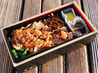 The whole of Black Pork with Miso Sauce Bento